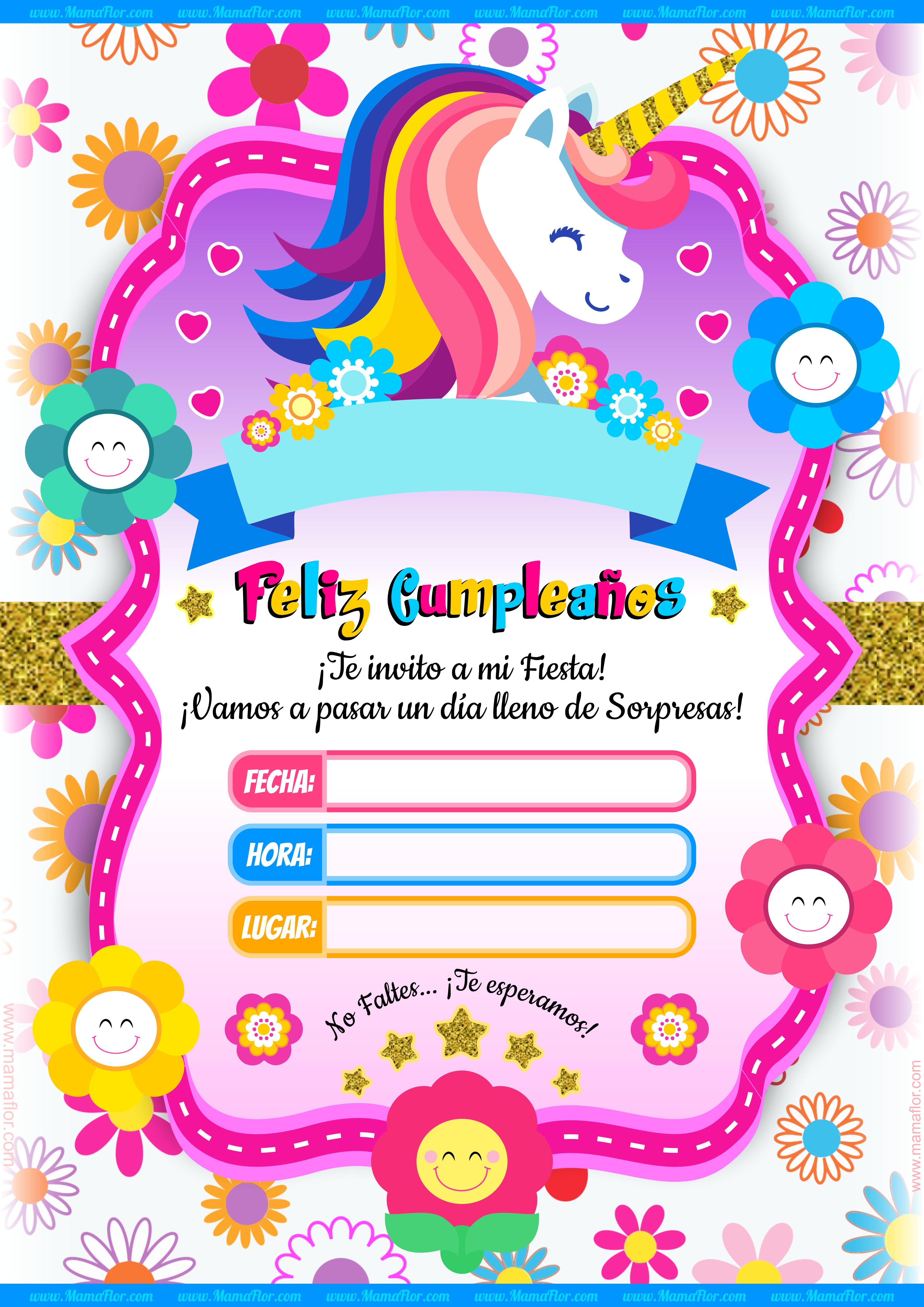 Molde Tarjeta Unicornio Imprimir Invitaciones Gratis 3535