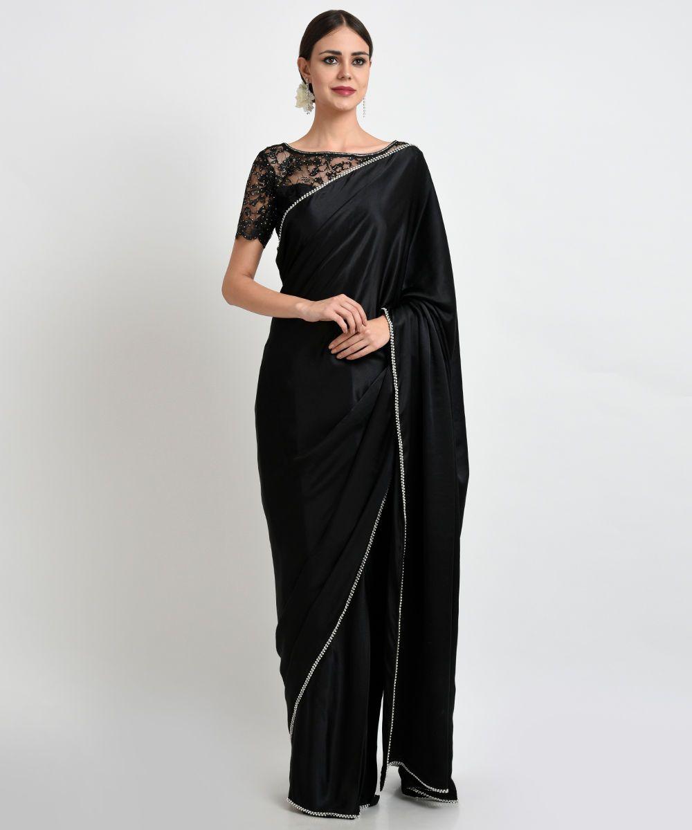 Black Pure Satin Silk Saree and blouse for women,designer saree,saree for women,wedding saree,traditional saree,Indian saree,saree dress