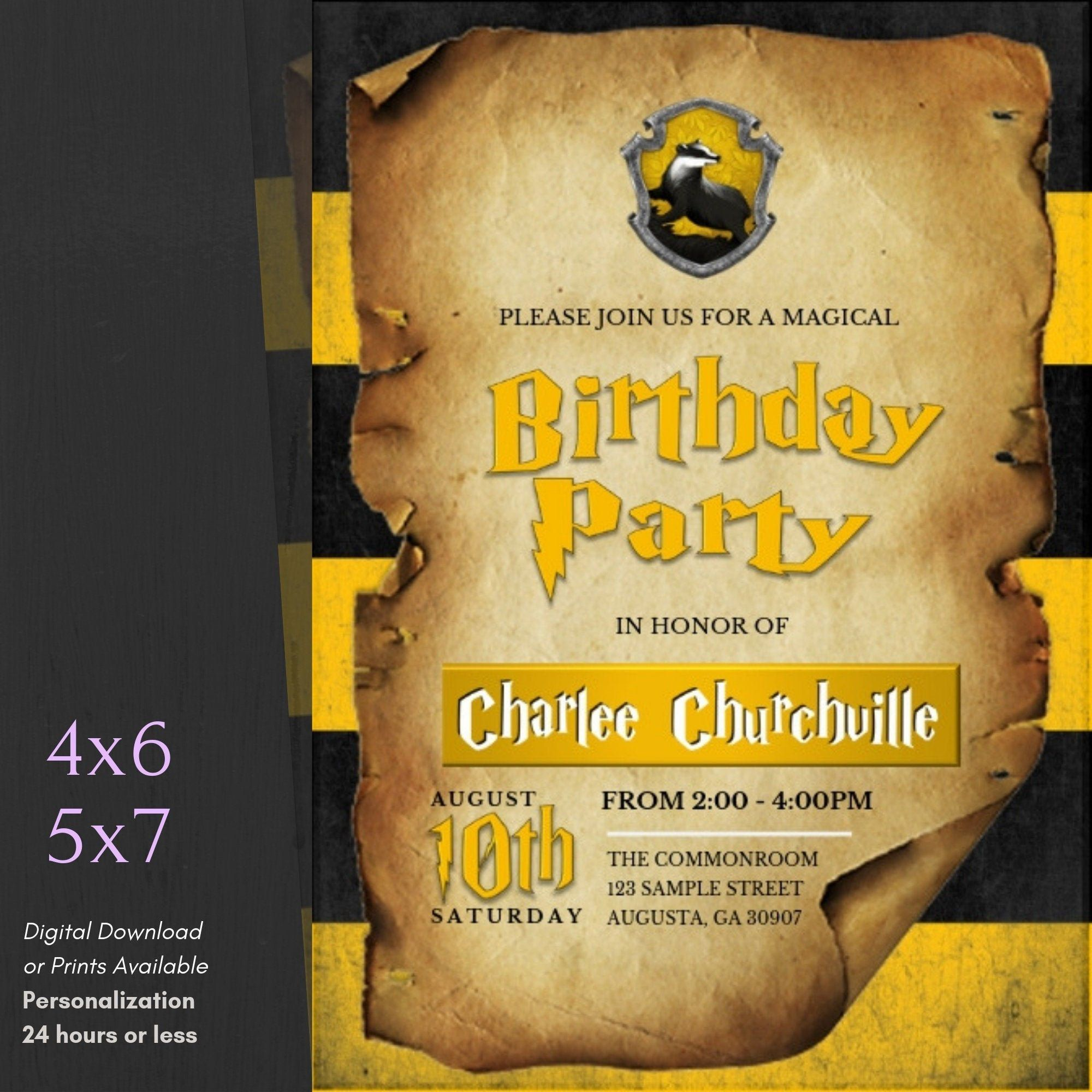 Harry potter hufflepuff birthday invitation hufflepuff
