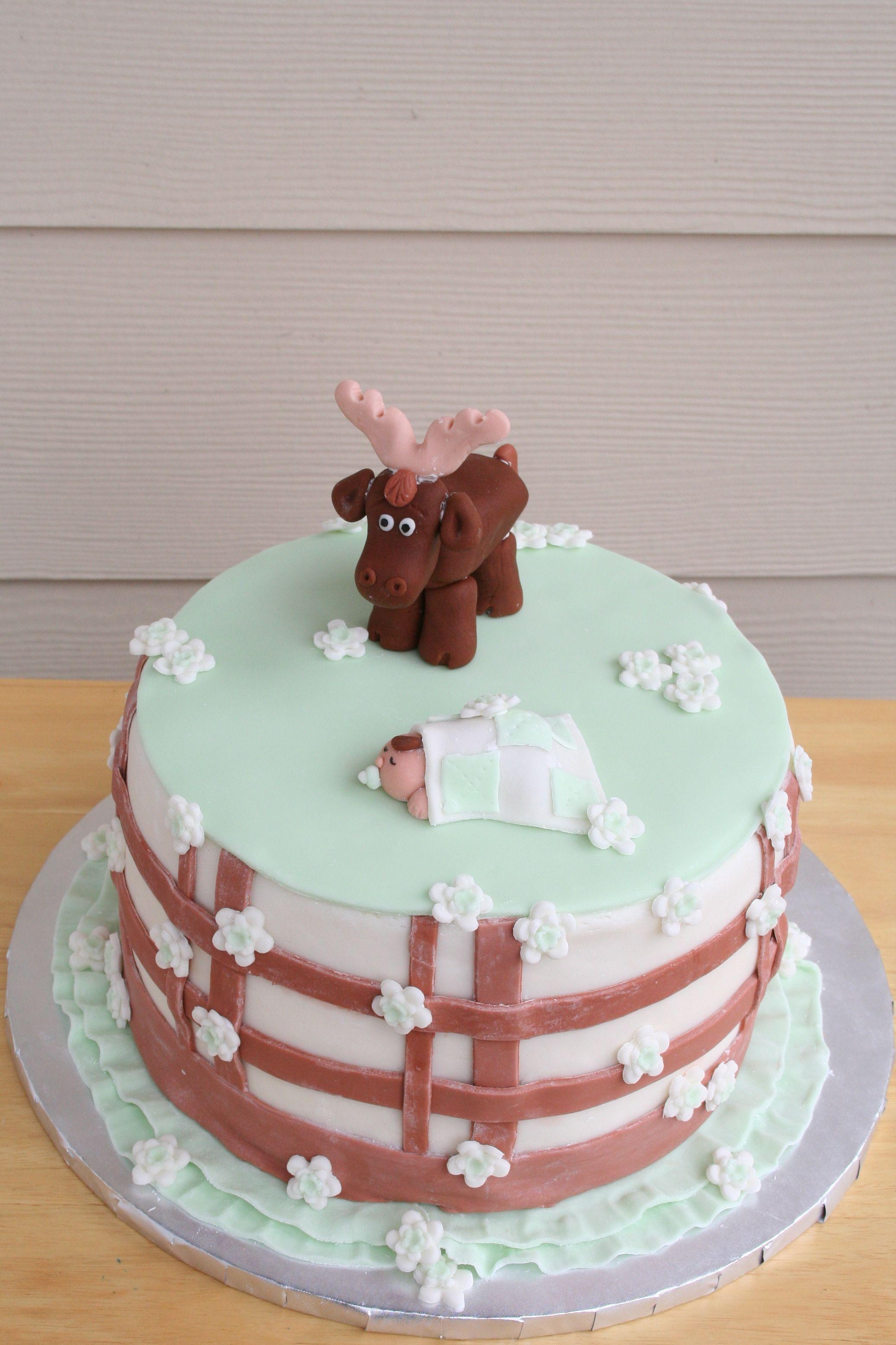 Moose Themed Baby Shower Cake Smalltowncookiecom