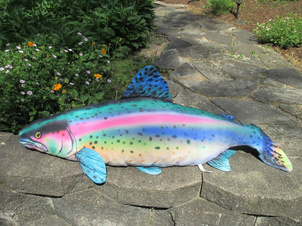 house trout rainbow pillow cabin decor x in lake p