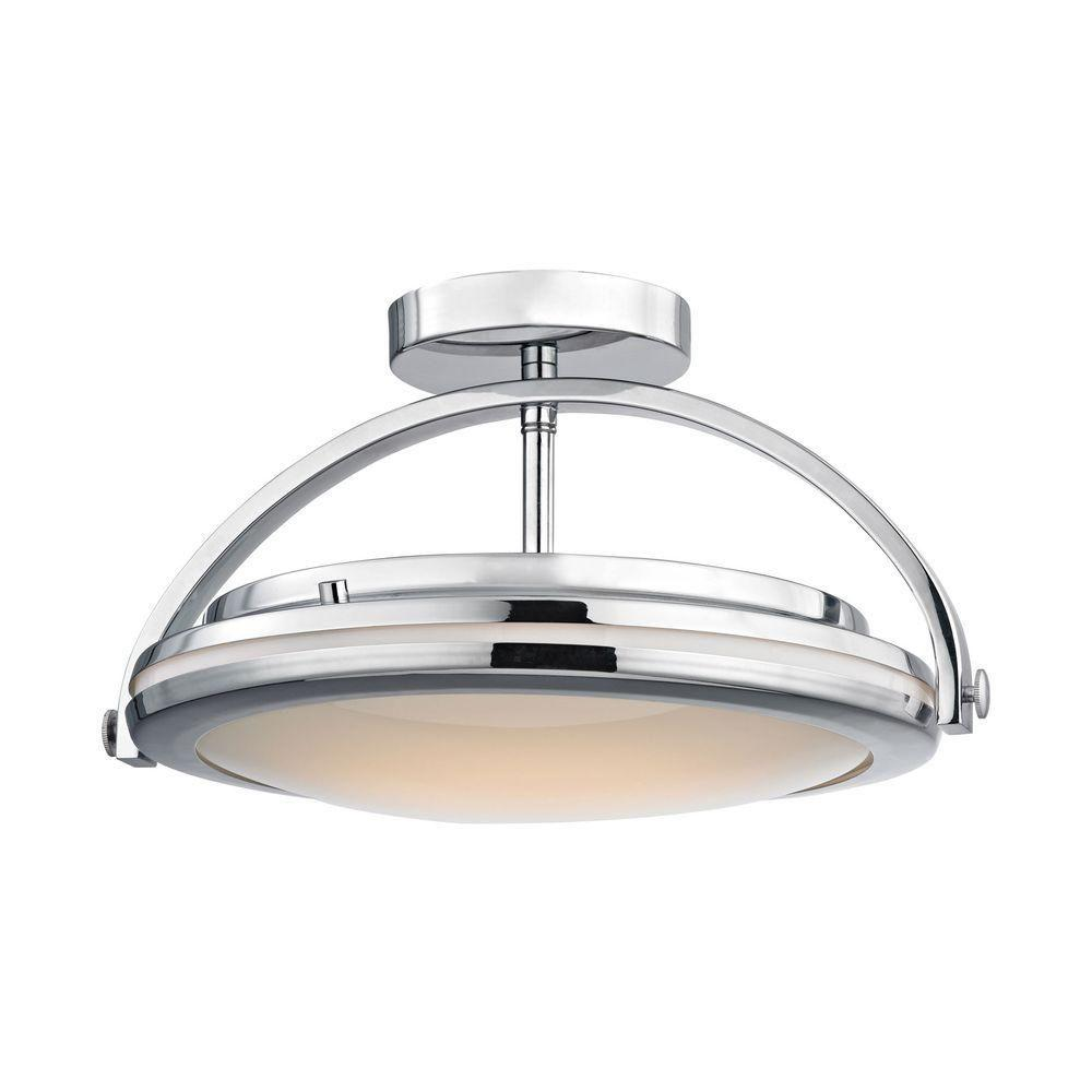 Titan Lighting Quincy 1-Light Chrome and Paint White Glass LED Semi ...