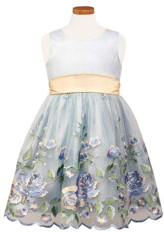 49d1fe1a893 Sorbet Floral Embroidered Tulle   Organza Party Dress