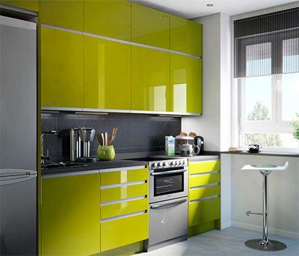 Delinia Horizon Verde Brillo Leroy Merlin Con Un Toque Loco Por El Briollo Y Retro Por El Color Puede R Kitchen Modular Kitchen Decor Kitchen Design Examples