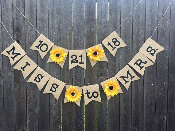 Customizable Sunflower Banner- Bridal Shower- Wedding Decorations- Burlap- Rustic- Happy Birthday- Save The Date- Fall