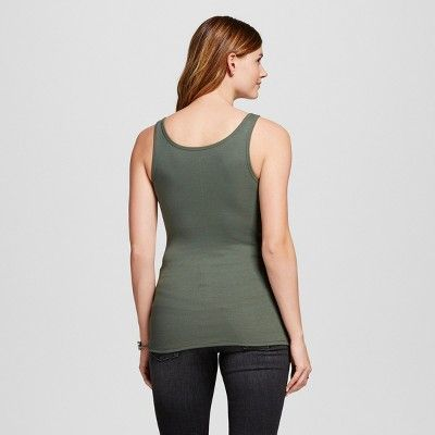 Women's Ribbed Favorite Tank - Merona Moss (Green) Xxl