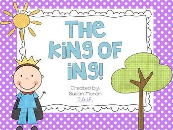 "The King of ING! {{Freebie}}  Kindergarten, First, Second, ESL.  This freebie includes a few activities to learn about the ""ing"" spelling pattern."