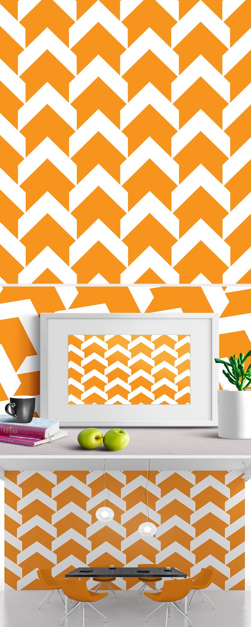 Modern orange pattern used as design for framed art and interior ...