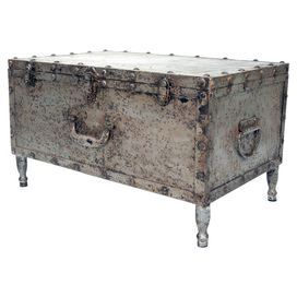 Distressed Metal Trunk With Nailhead Trim. Product: TrunkConstruction  Material: MetalColor: Distressed Beige