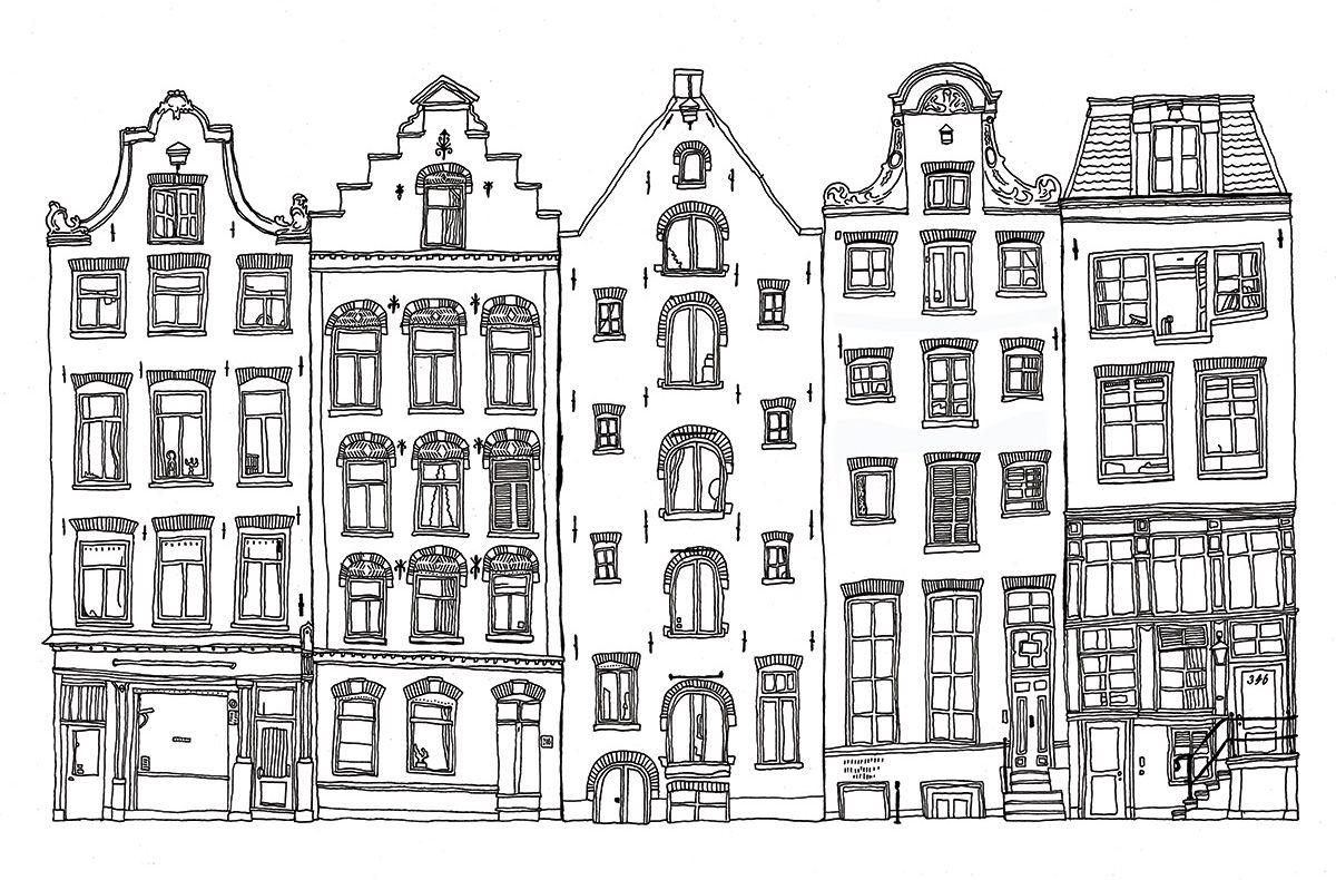 amsterdamse grachtenpanden zoeken tekening