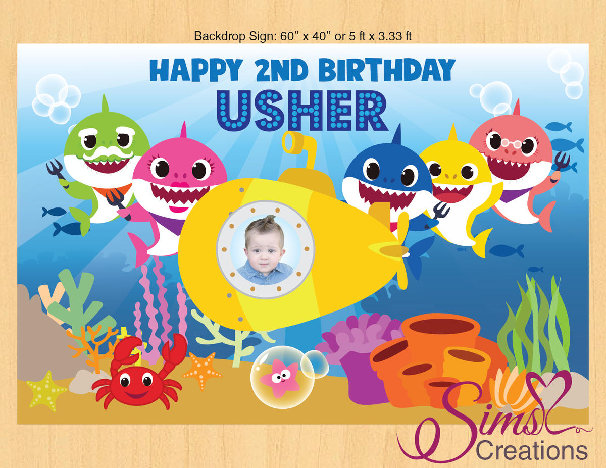 Baby Shark Theme Printable Backdrop Banner Custom Photo Shark Theme Birthday Shark Birthday Shark Themed Birthday Party