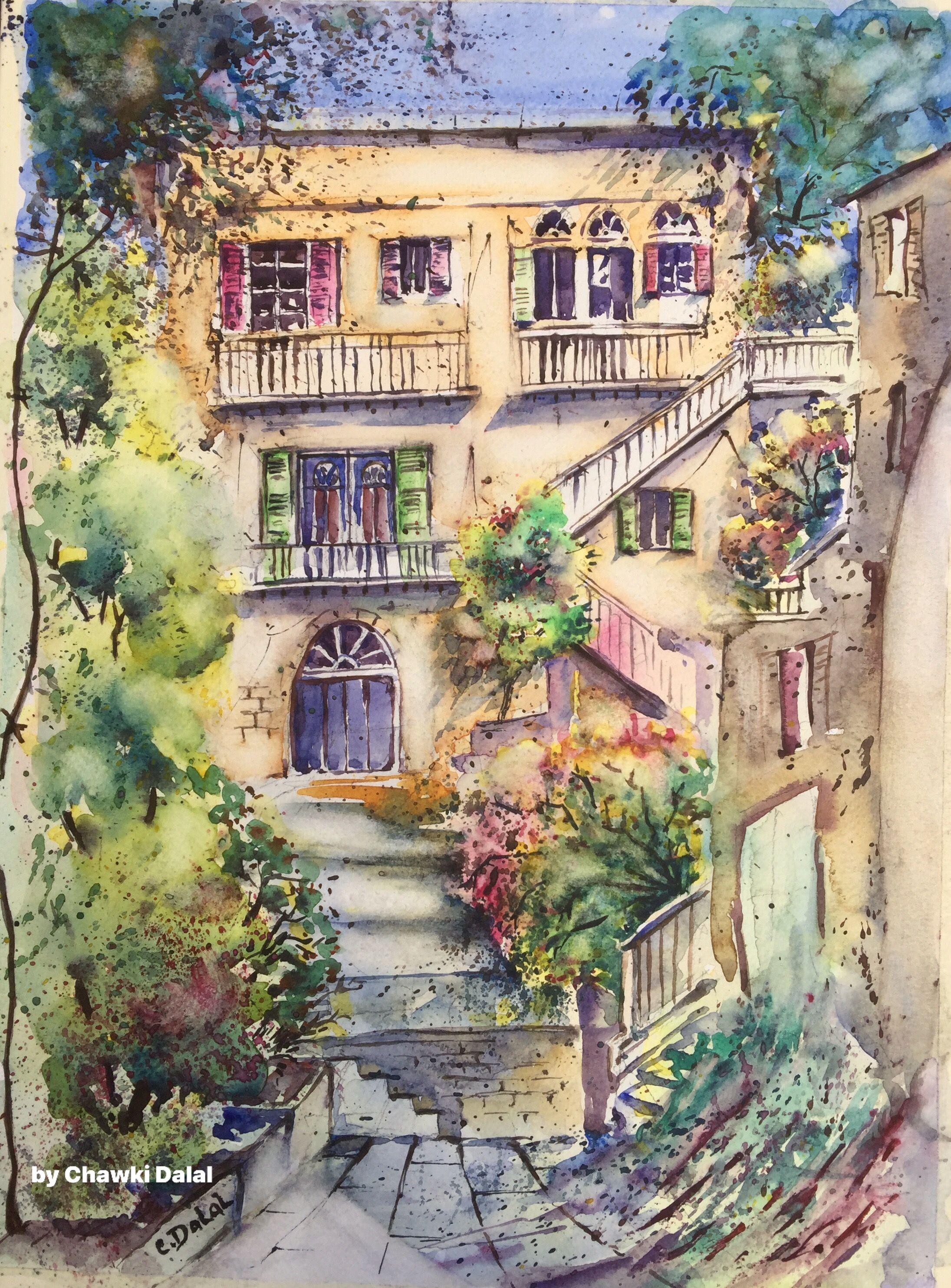 لوحة رسمتها حديثا لأحد الأبنية التراثية في منطقة الأشرفية حي السراسقة بيروت لبنان من ذاكرتي التي عايشتها في بيروت عام 1978 House Styles Mansions Home Decor