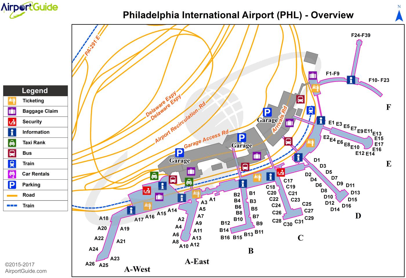 philadelphia international airport terminal map Philadelphia Philadelphia International Phl Airport Terminal philadelphia international airport terminal map