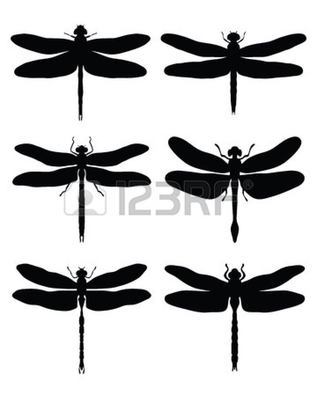 Black silhouettes of dragonflies vector stock vector