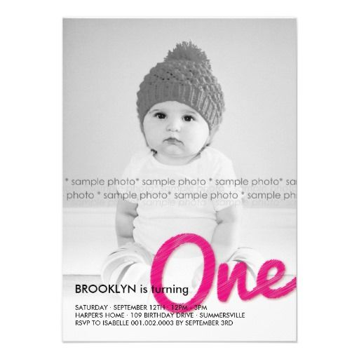 Big Sketch One Baby Girl First Birthday Party Personalized Invite Invitation By Fatfatin