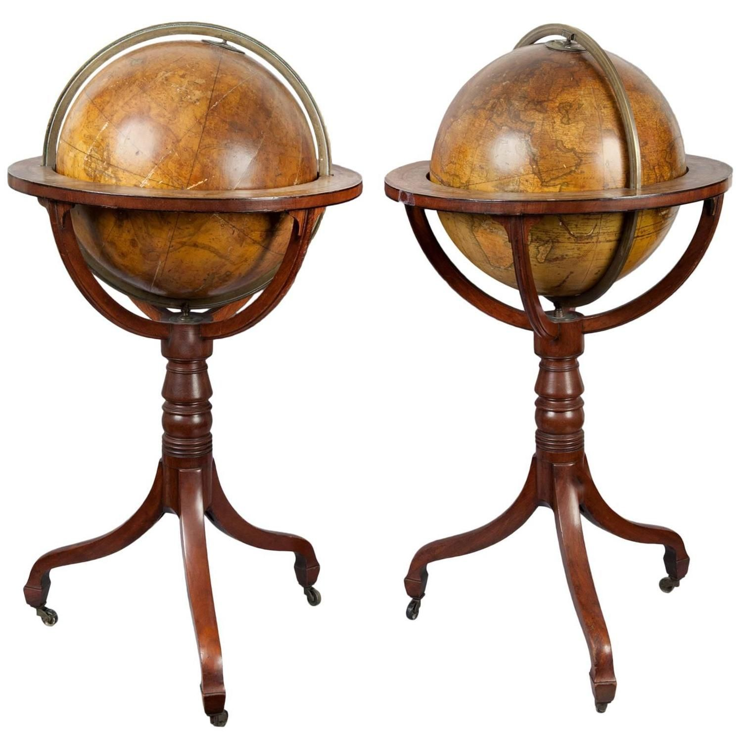 19th Century Pair of Globes