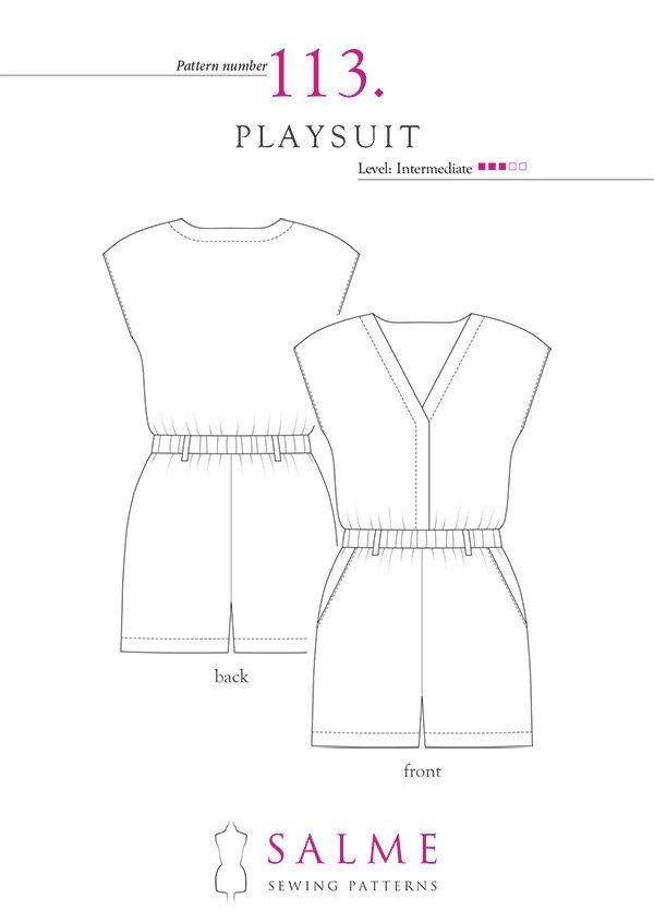 Playsuit PDF Sewing pattern | blusas | Pinterest | Patrones de ...
