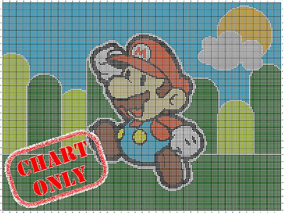 Chart Only Nintendo Paper Mario Color Chart For Cross Stitch