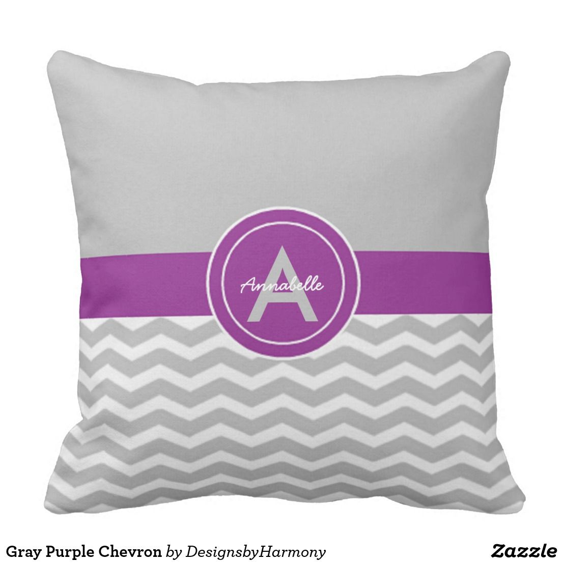 Gray Purple Chevron Throw Pillow