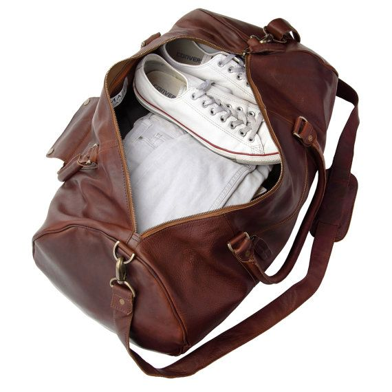1a646062b7bc73 Personalized leather duffle bag - leather weekend bag - overnight ...