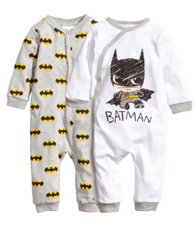 a6e2e3d63 Two pajama bodysuits in organic cotton jersey with a printed design ...