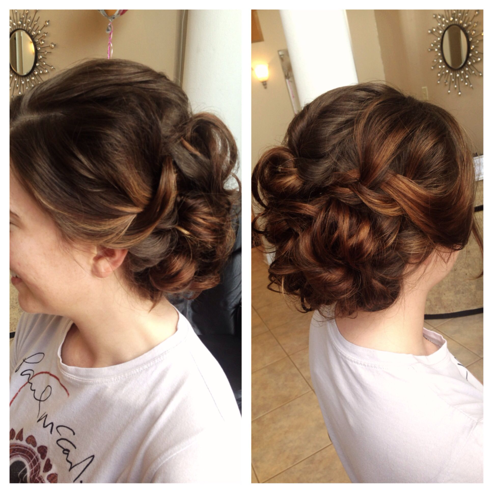 Wedding Updo Loose Curls Braids Balayage Highlights