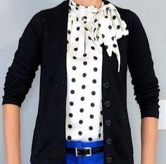 Polka dot blouse & black cardigan