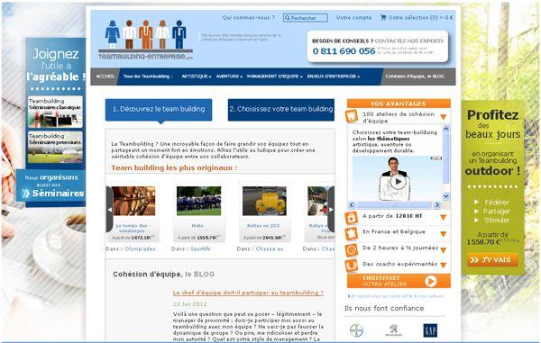 Création du site web Teambuilding Entreprises (Agence Aran Prod) à La Rochelle.