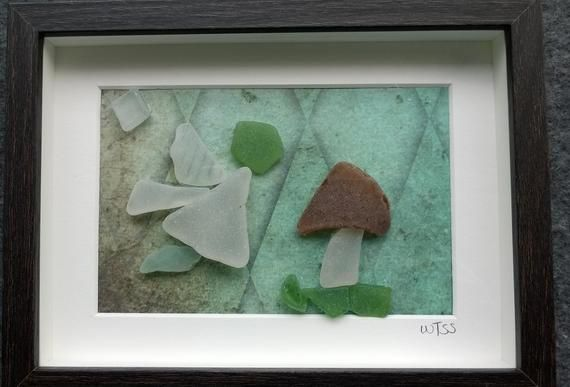 Framed Irish Sea Glass picture ~ wall art present ~ Flower Fairy Toadstool ~ Woodland ~ Guardian Angel