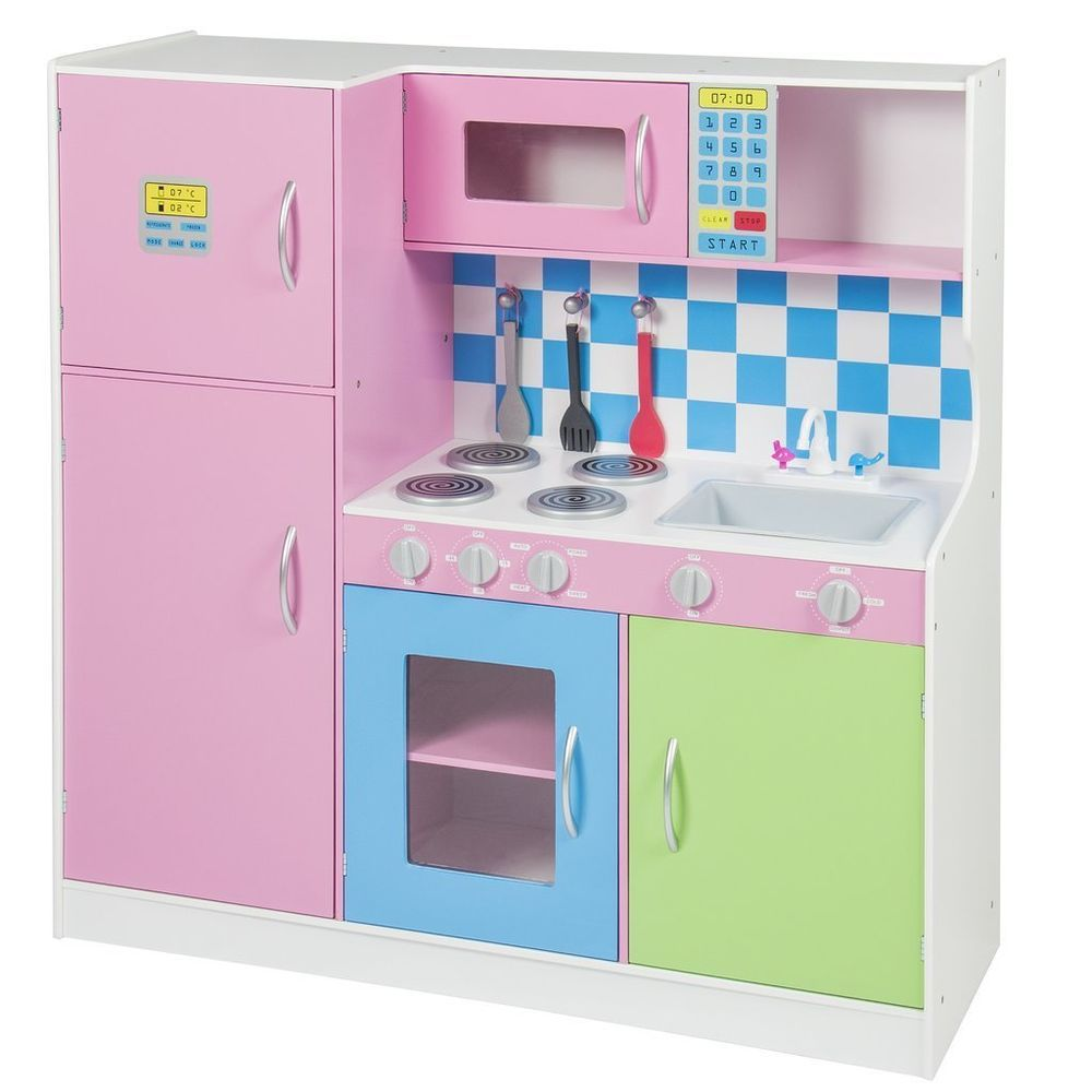 Wooden Pink Deluxe Kitchen Set Kids Toddler Refrigerator Pretend