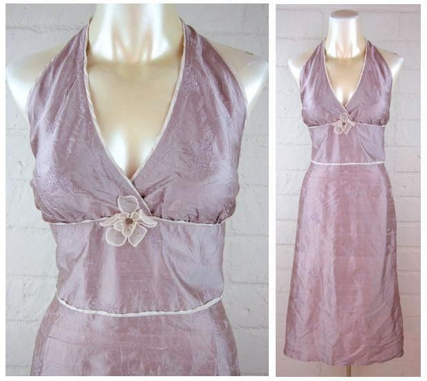 NWT! HYPE $ 198 Lilac Floral Embroidered Embellished Silk Halter Dress 10 M #HYPE #Halter #Casual