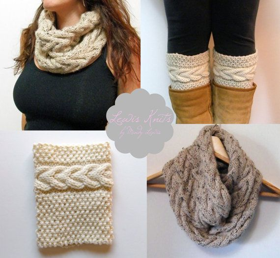 Digital PDF 2 Knitting Pattern - Grace Cable Boot Cuffs Pattern, Cable Cowl Infinity Scarf Knitting Pattern on Etsy, £5.88