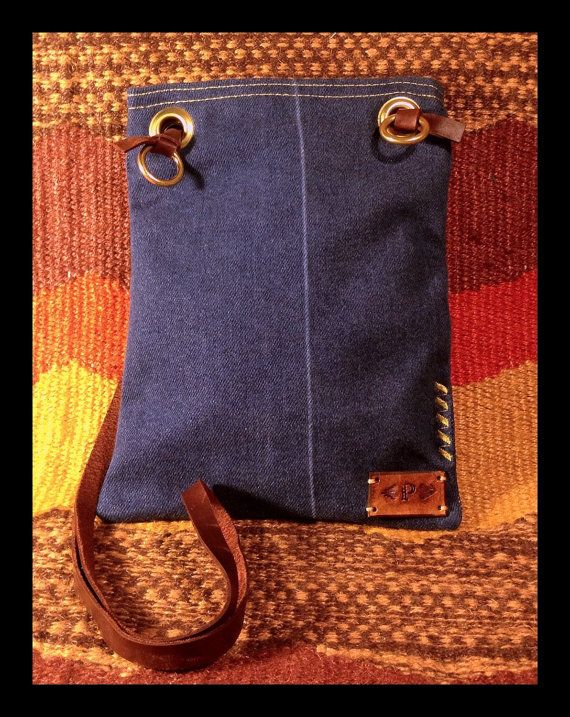 Reclaimed Denim Crossbody  by paintedponyarts on Etsy