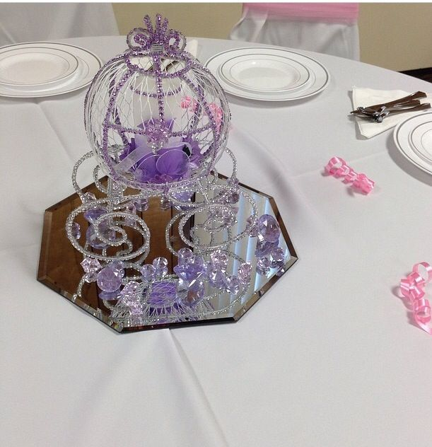 Cinderella carriage candle holder table centerpiece