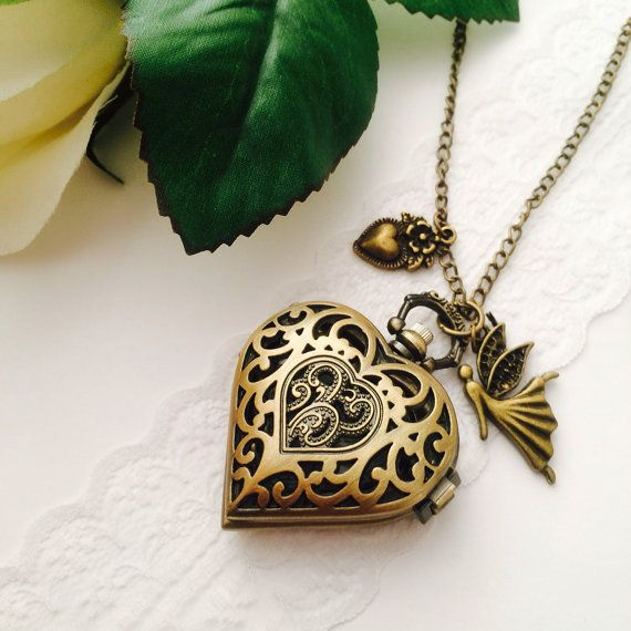 Heart locket watch necklace by Victorianstudio on Etsy, $18.96