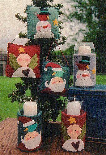 Natal em feltro retirado da net navidad fieltro y - Porta velas navidenas ...