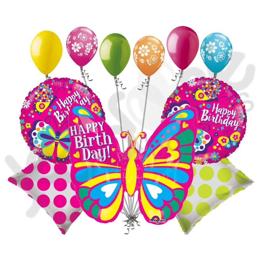 Bright colorful happy birthday butterfly balloon bouquet round bright colorful happy birthday butterfly balloon bouquet dhlflorist Choice Image