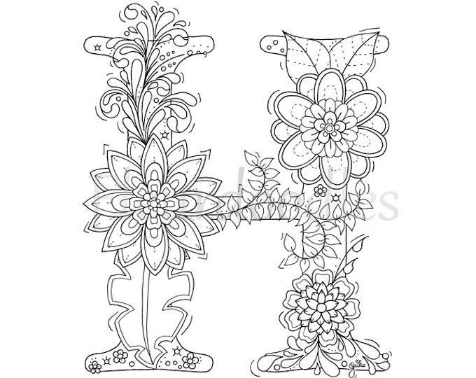 Floral Letters, Alphabet H, Hand
