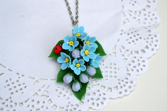 ab7be15f9 Forget me not necklace ring. Forget me not jewelry. ladybug. | clay ...