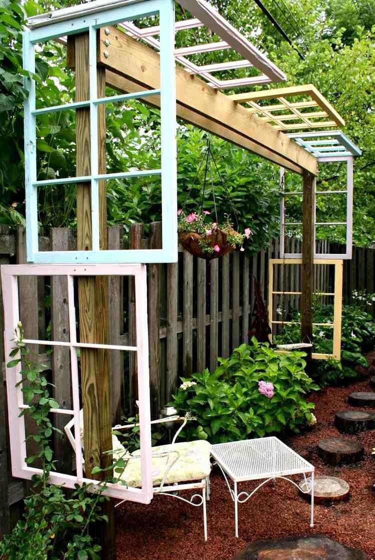 kreative Pergola aus alten Fensterrahmen selber bauen | Garten ...