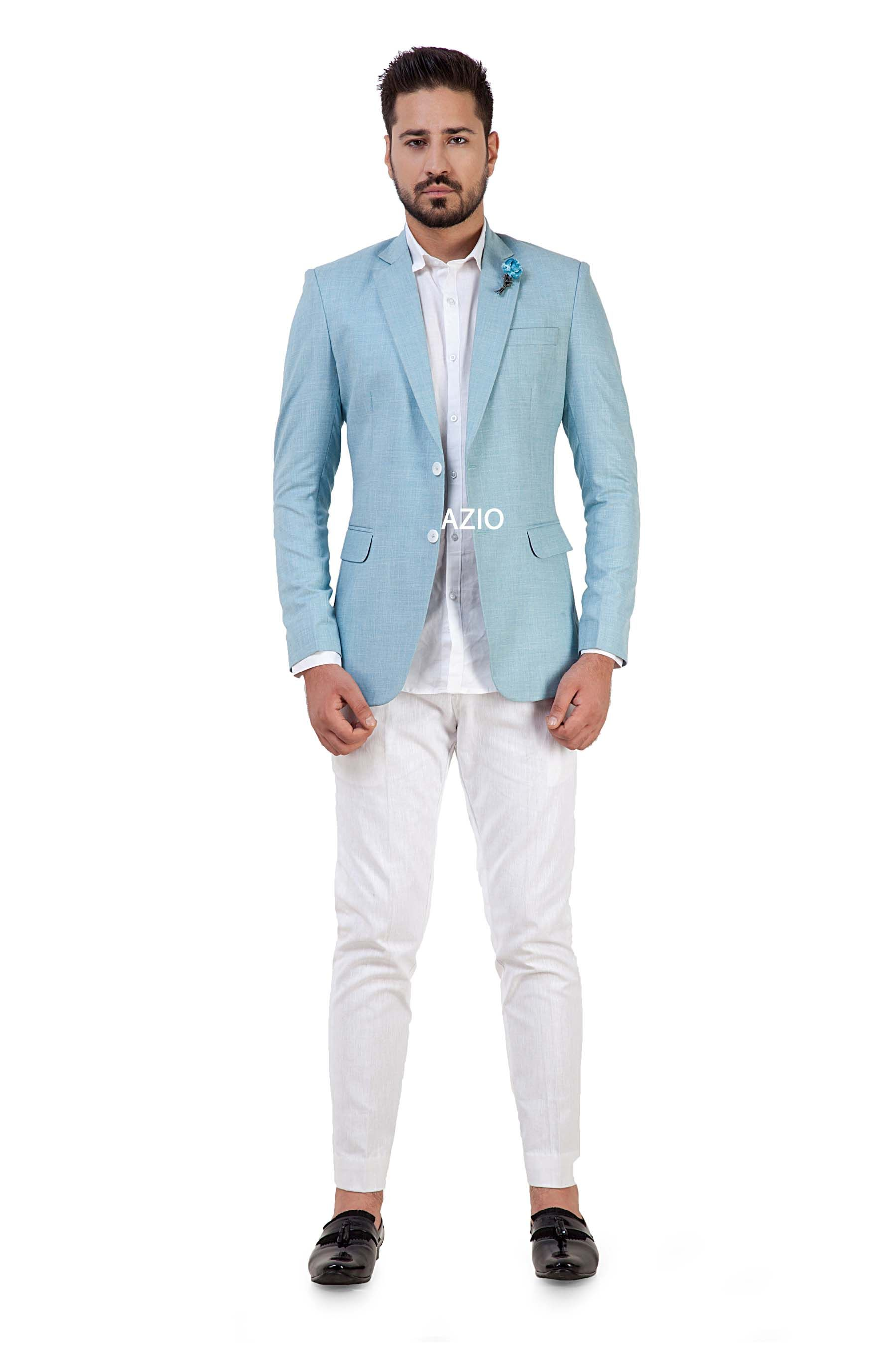 Azio sky blue linen blazer wedding suits men blazers
