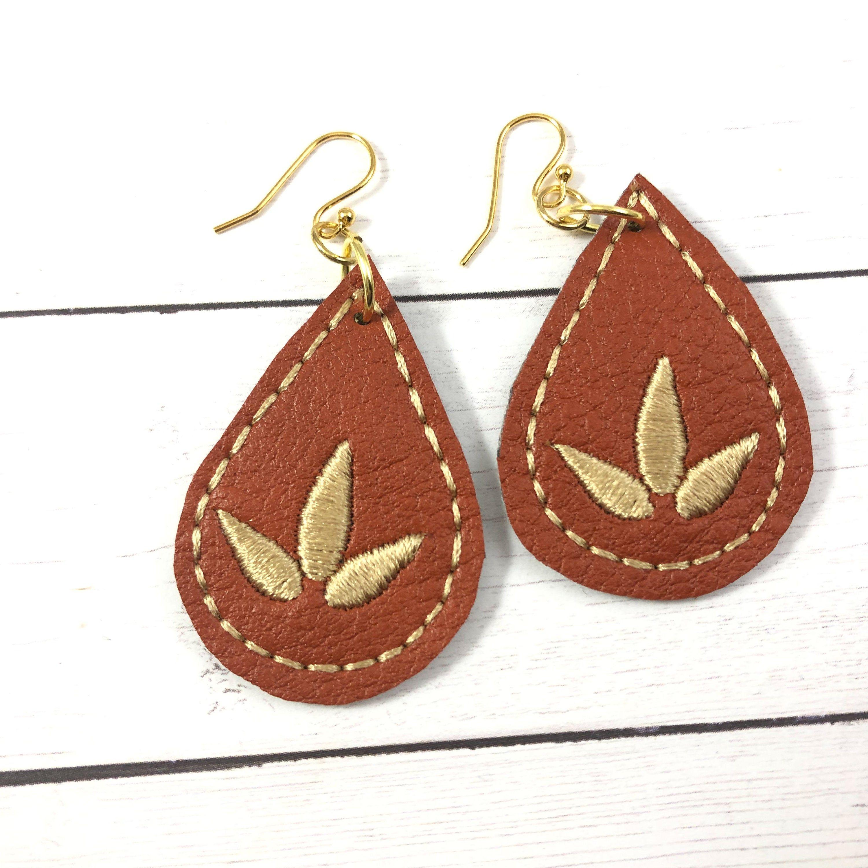 Black lotus flower cork earrings