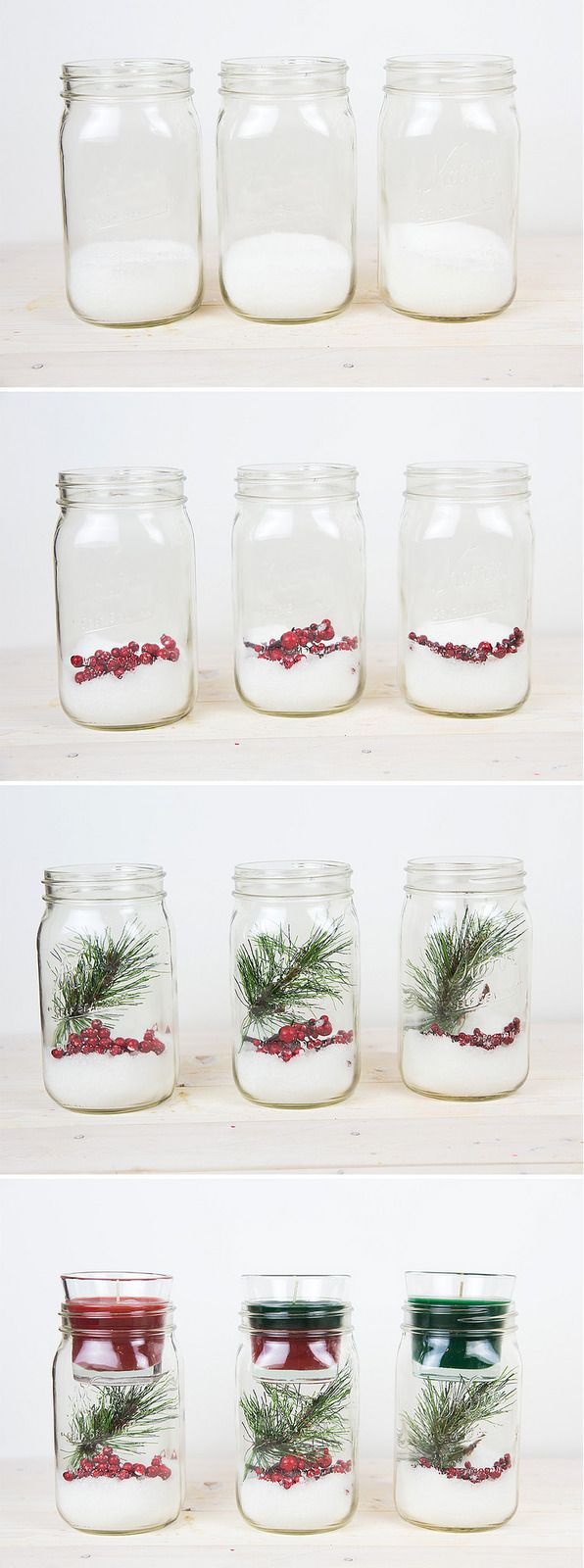 DIY Christmas Mason Jar Candle Holder Mason jar crafts