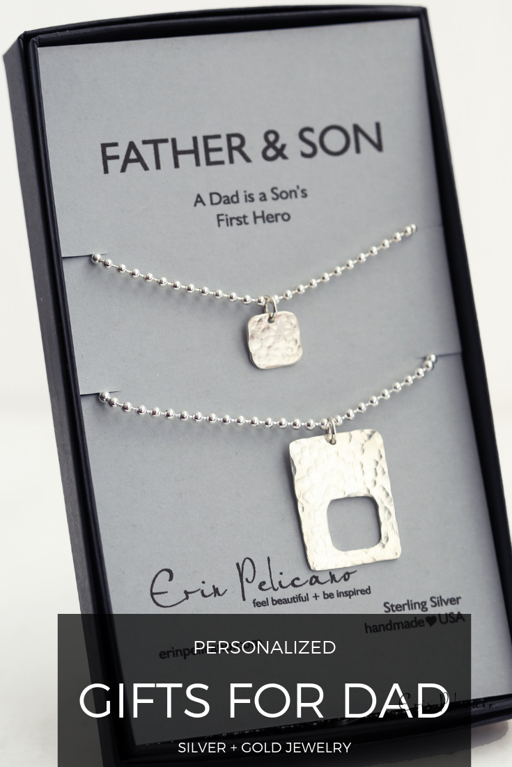 Father Son Tag Necklace Set Fine Artisan Jewelry Father And