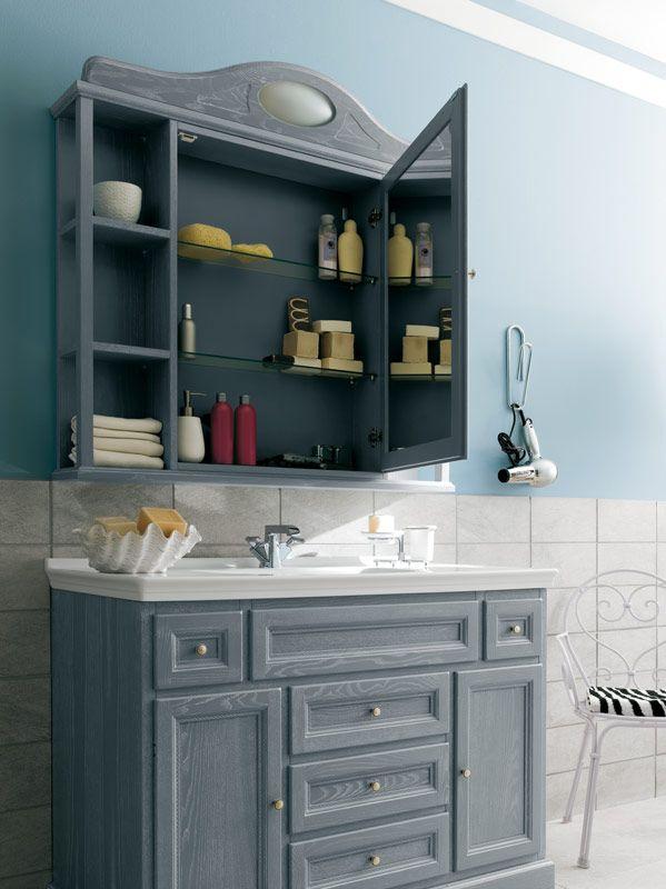 Bagno paestum con finitura essenza laccato decap grigio - Bagno arredamento classico ...