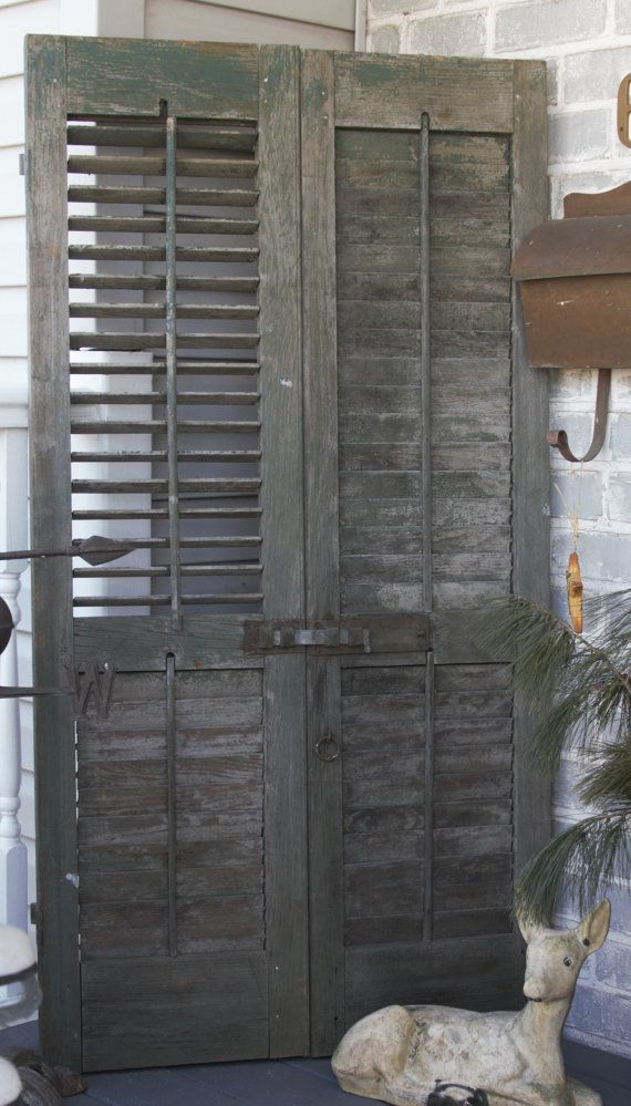 Antique Louvered Shutters With Original Hardware Rustic