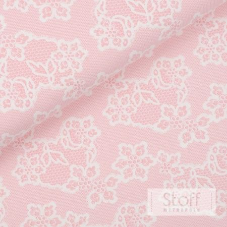 Dreamy jersey with pink flower motif on white -...