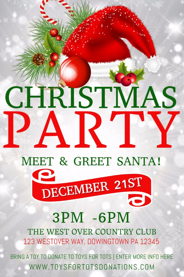 Christmas Party Poster Design Template Christmas Poster