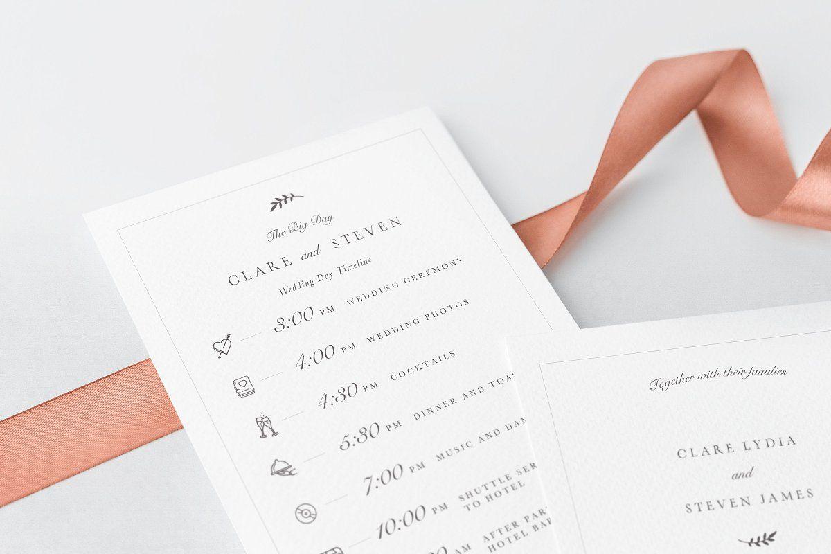 Printable Wedding Schedulecard