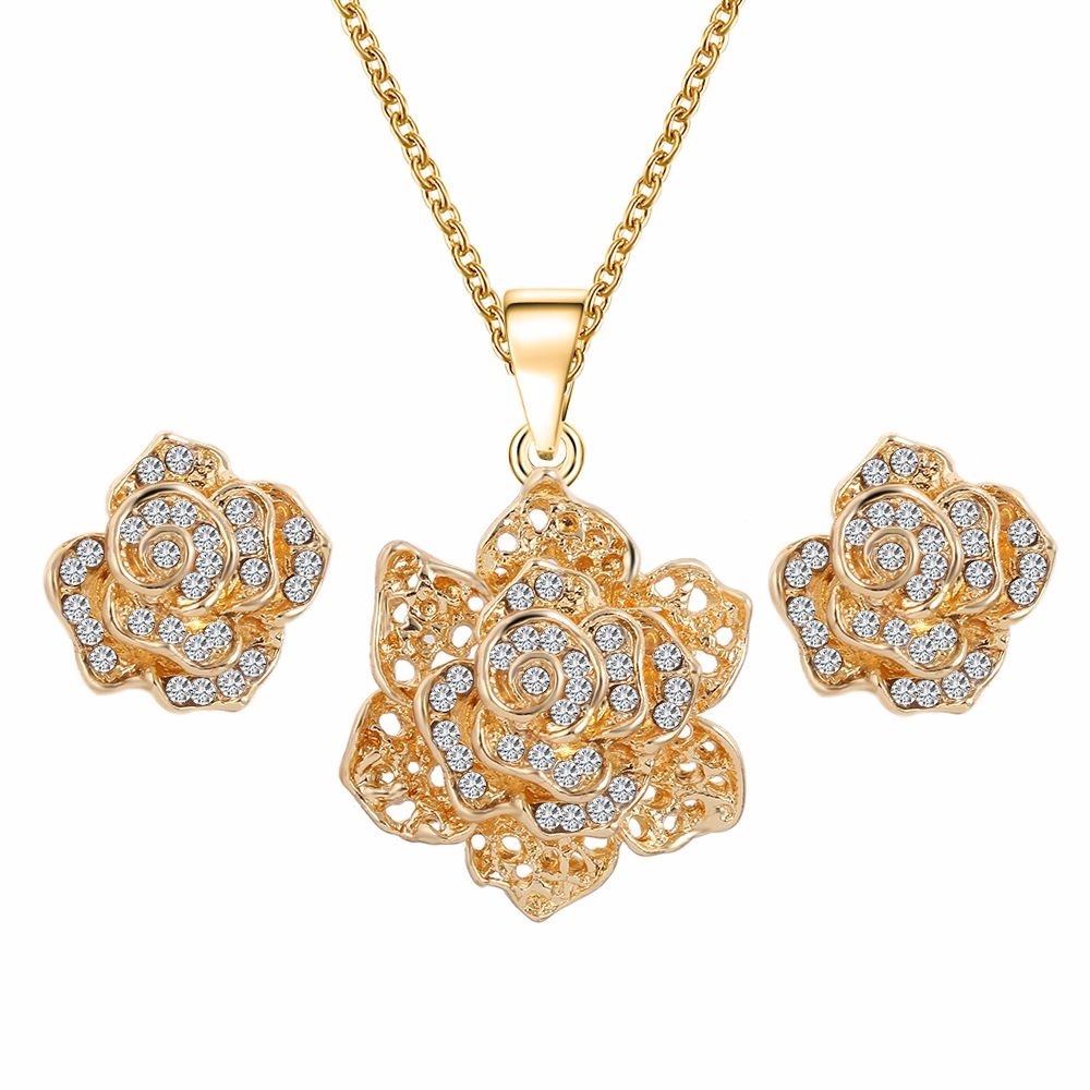 Fashion Women/'s Gold Plated Crystal Rose Flower Necklace Wedding Jewelry Sets